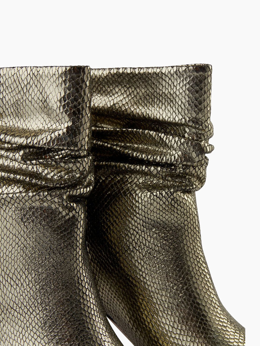 AGNETE SLOUCHY METALLIC BOOTS - SILVER