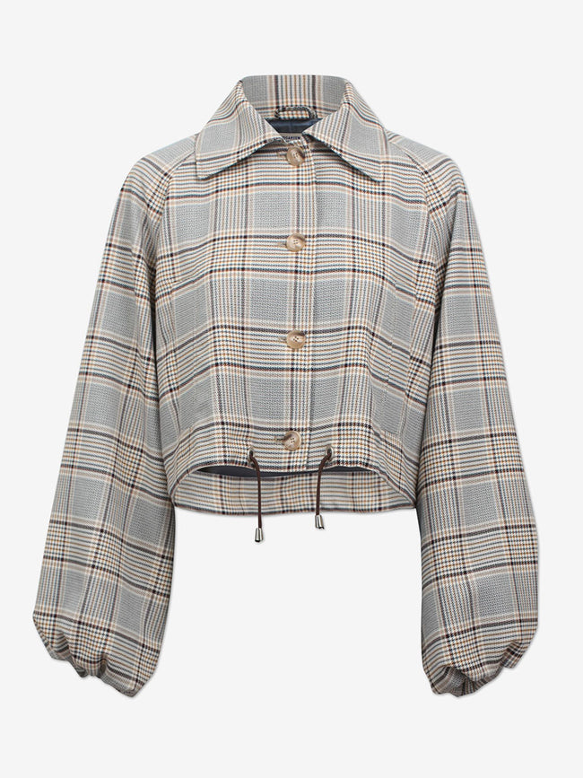 BLAIR CROPPED CHECK JACKET - BLUE YELLOW HOUND