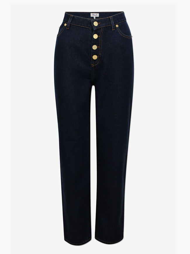 NANCY SLIM STRAIGHT JEANS - DARK WASH DENIM