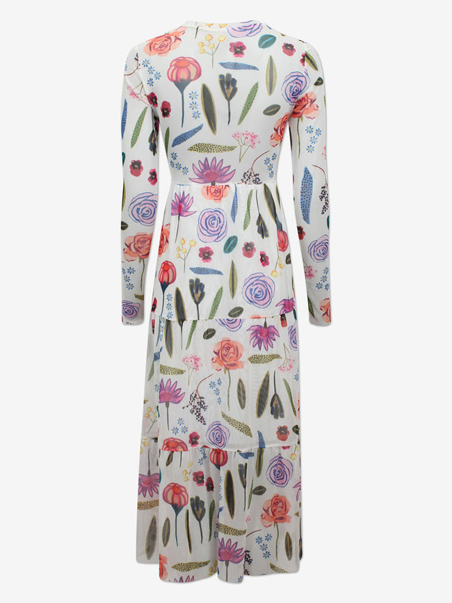 JOCELINA MESH MIDI DRESS - WHITE HAMPTON GARDEN