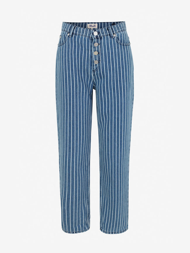 NANCY SLIM STRAIGHT JEANS - BLUE STRIPE DENIM
