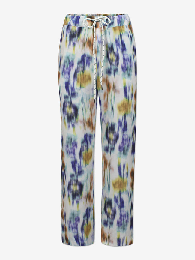 NUE TROUSERS - WHITE BLUE FLORAL BLUR
