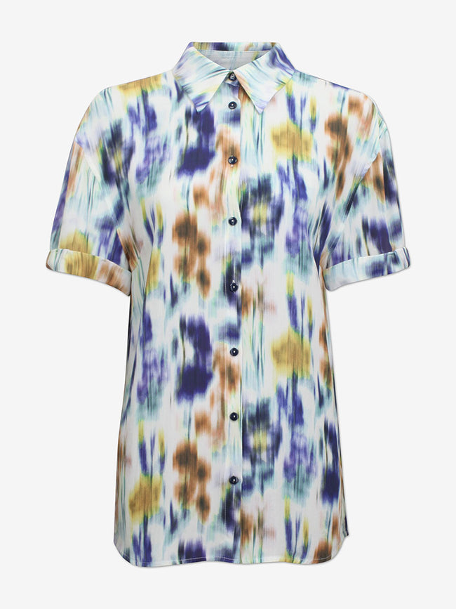 MOANNA SHORT SLEEVE SHIRT - WHITE BLUE FLORAL BLUE
