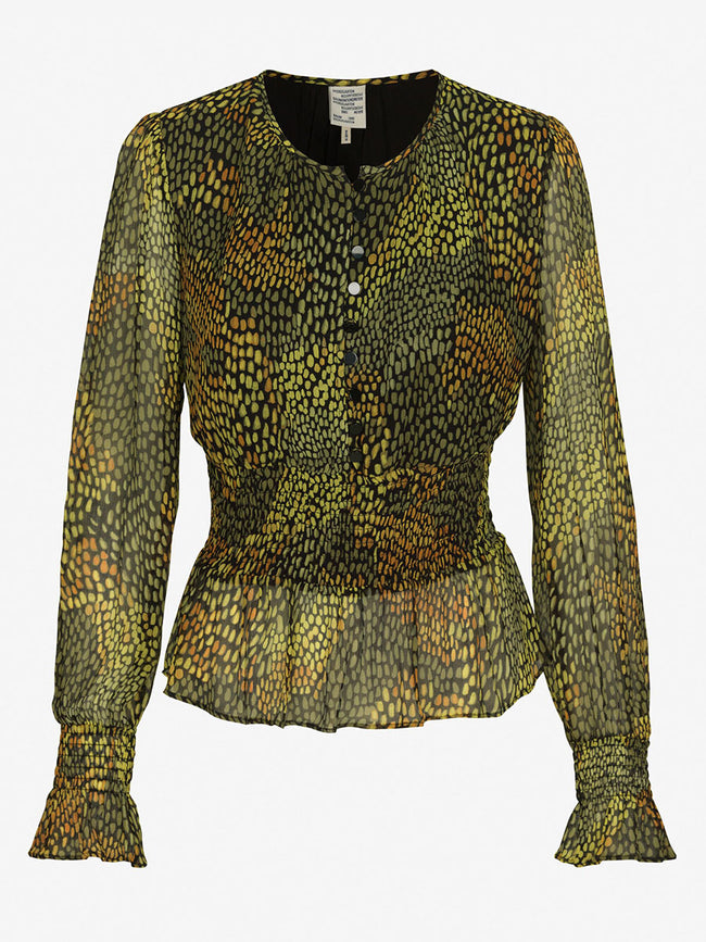 MACHELLA SHIRRED BUTTON BLOUSE - CAMO MEADOW
