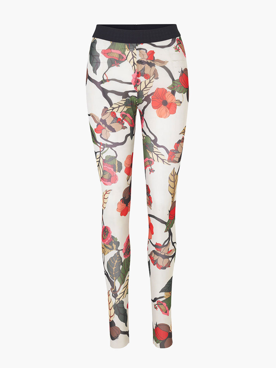 JAZZLYN MESH LEGGINGS - CREAM FLORAL BRANCH