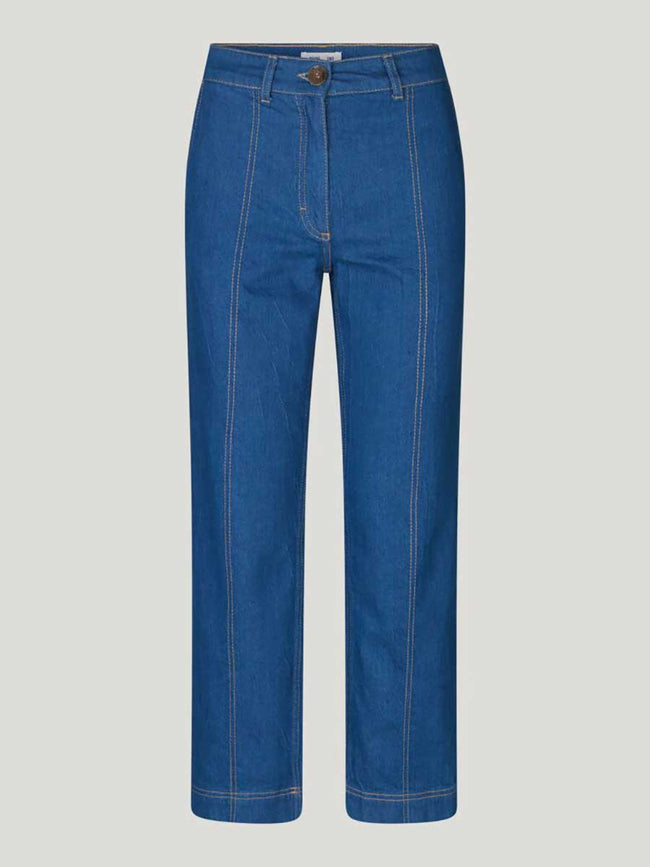 NOELL CROPPED JEANS - MID BLUE RAW