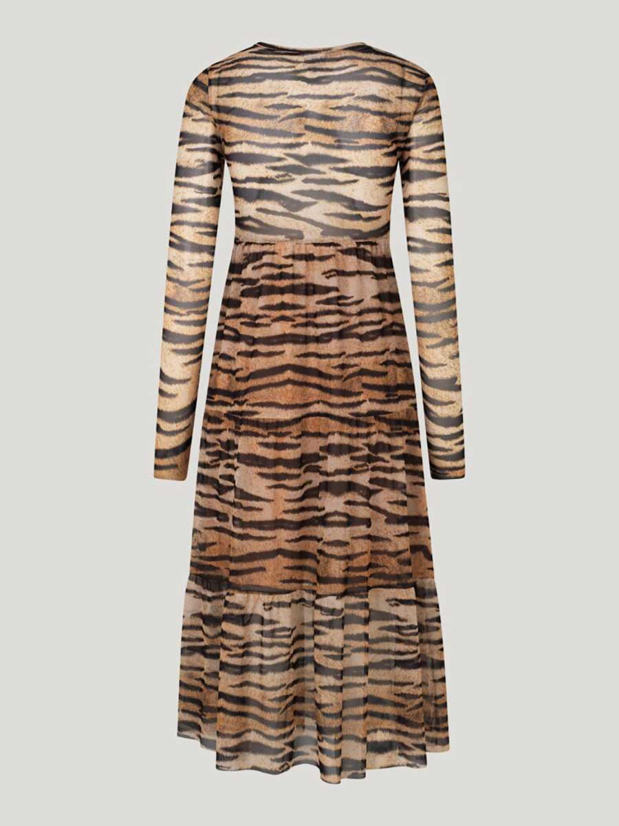 JOCELINA MESH MIDI DRESS - NATUREL TIGER