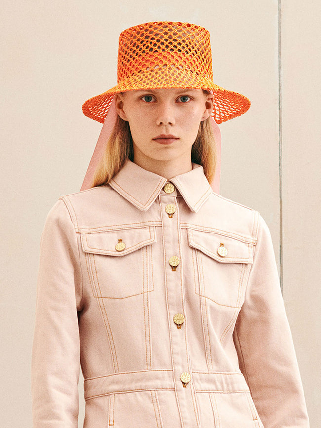 LIZA STRAW HAT - VERMILLION ORANGE