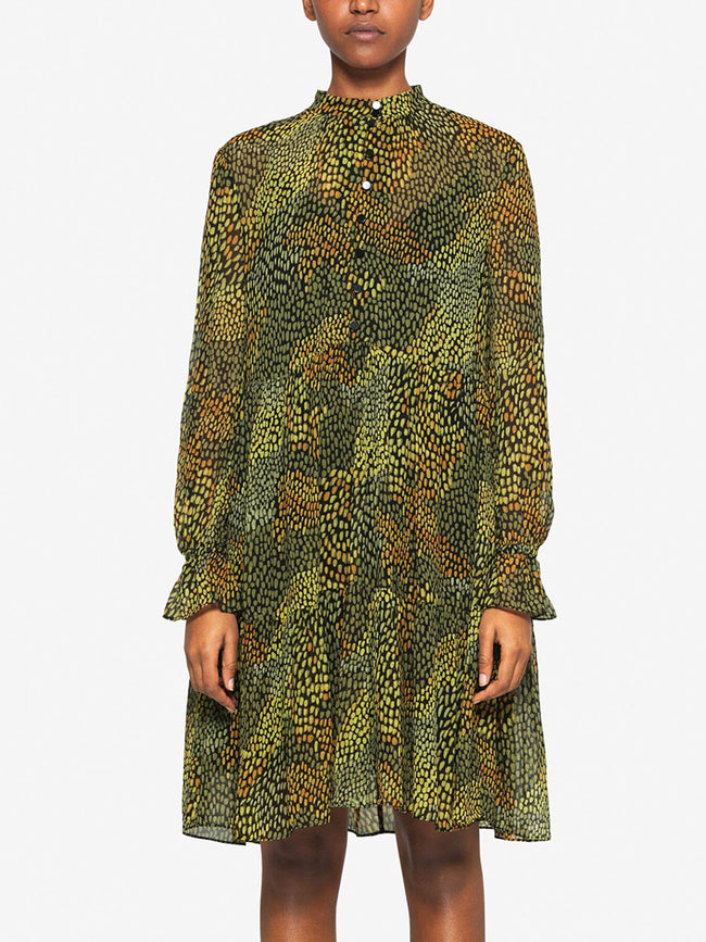AJAY BUTTON DRESS - CAMO MEADOW