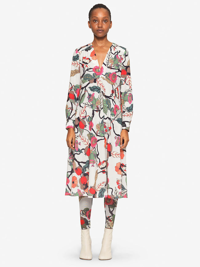 AERICKA EMPIRE MIDI DRESS - CREAM FLORAL BRANCH