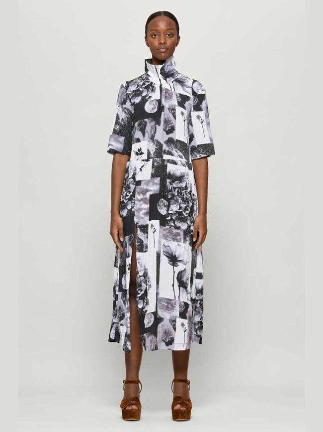 ANGIE DRESS - BLACK FLORAL COLLAGE