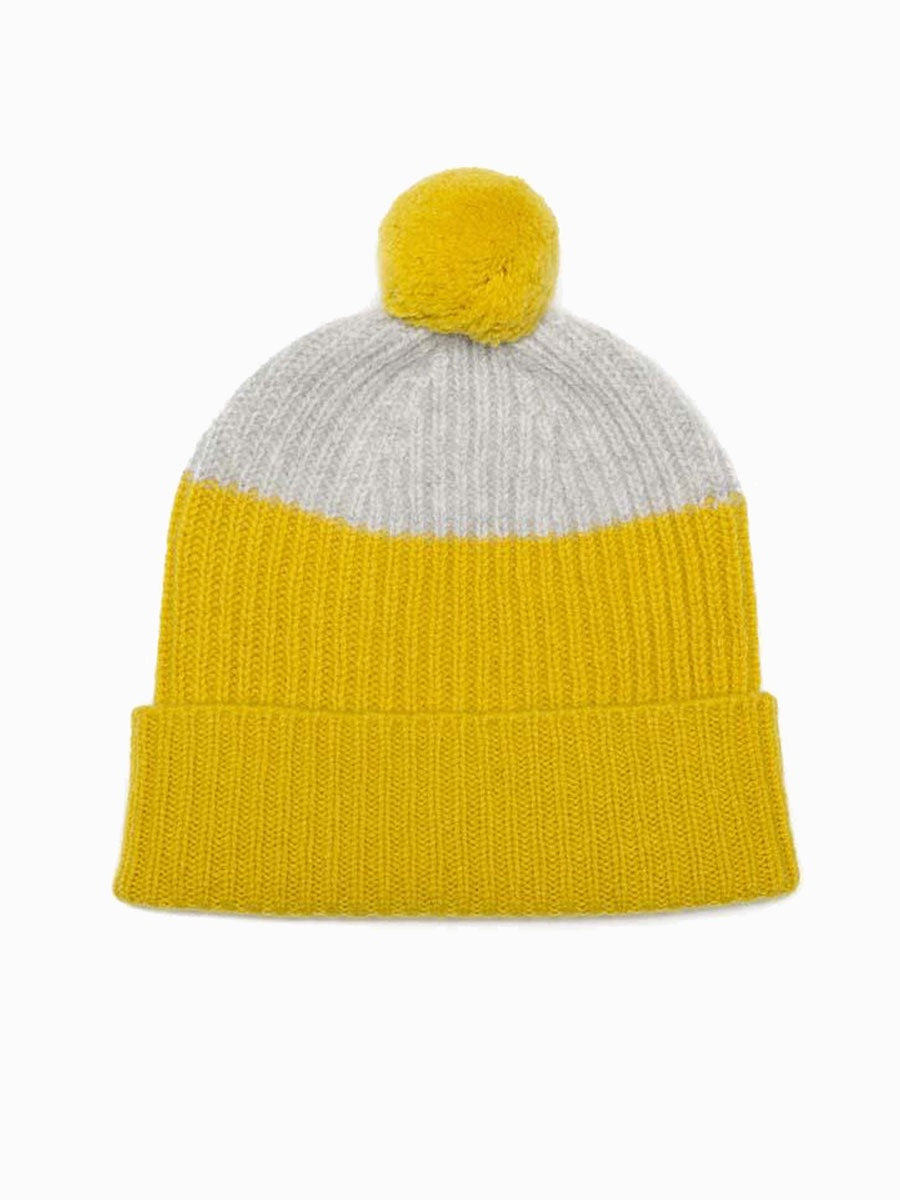 MERINO WOOL POM HAT - YELLOW & GREY