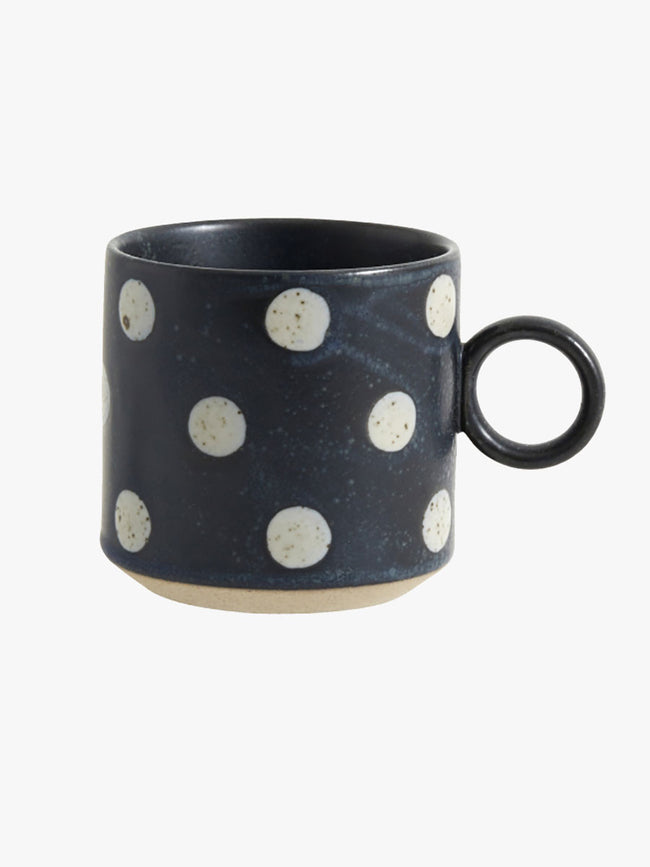 GRAINY PORCELAIN SPOT MUG - DARK BLUE/SAND