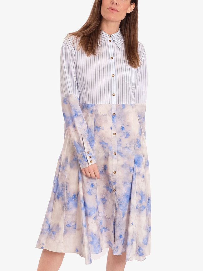 ADELMA SPLIT SHIRT DRESS - CLOUD BLUE SKY