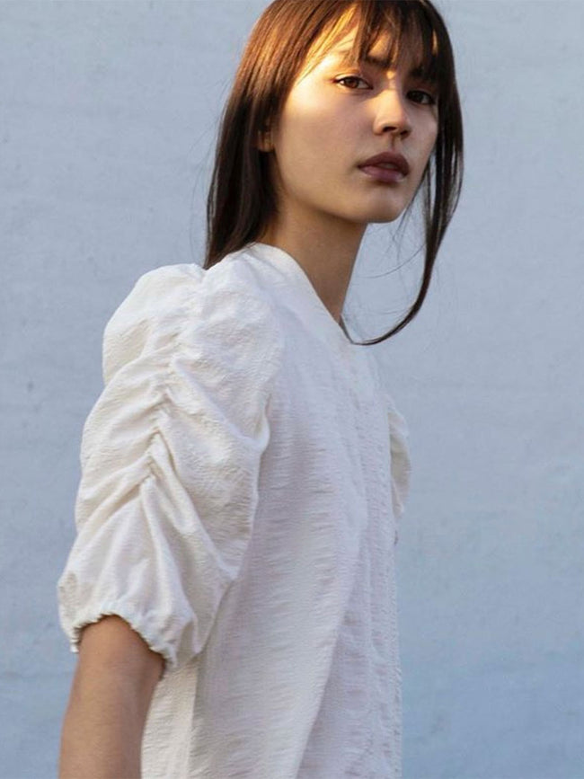 LOWA PUFF SLEEVE BLOUSE - ANTIQUE WHITE