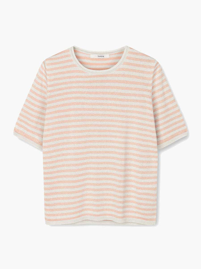 JING STRIPED T-SHIRT - NUDE/OFF-WHITE