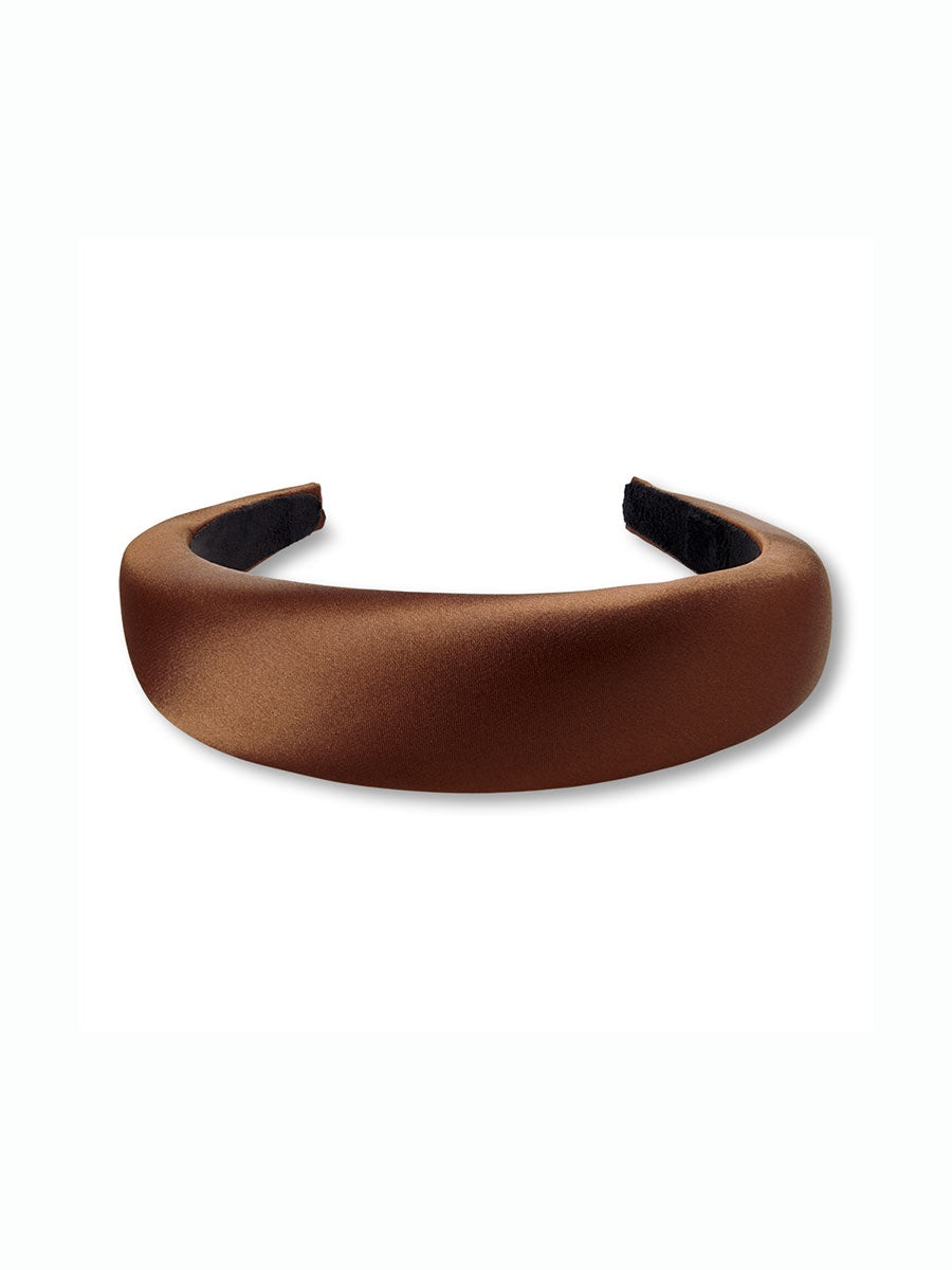 SATIN HEADBAND - BROWN