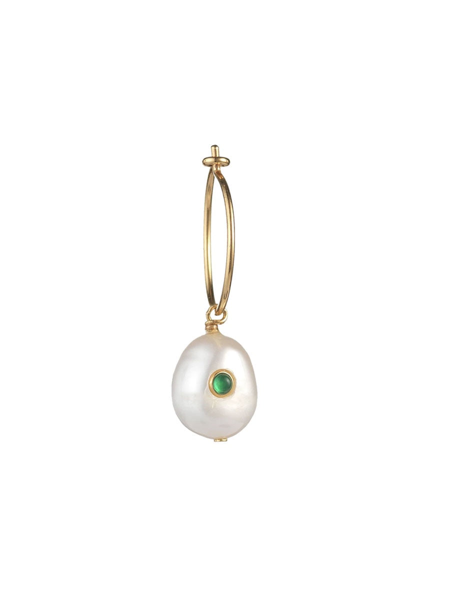 PEARL SINGLE HOOP GREEN AGATE