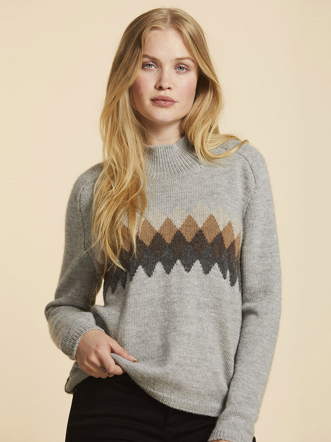 PETUNIA JACQUARD JUMPER - SWEAT GREY