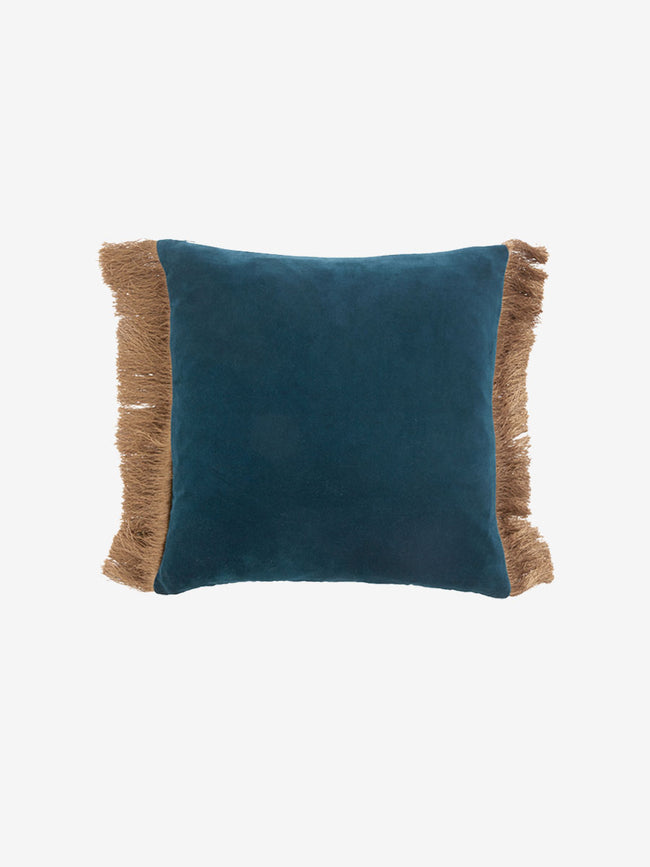 FRINGE TWO TONE CUSHION COVER - DUSTY BLUE