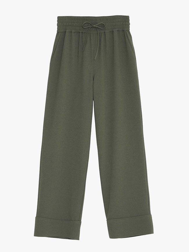 HEAVY CREPE WIDE PANTS - KALAMATA