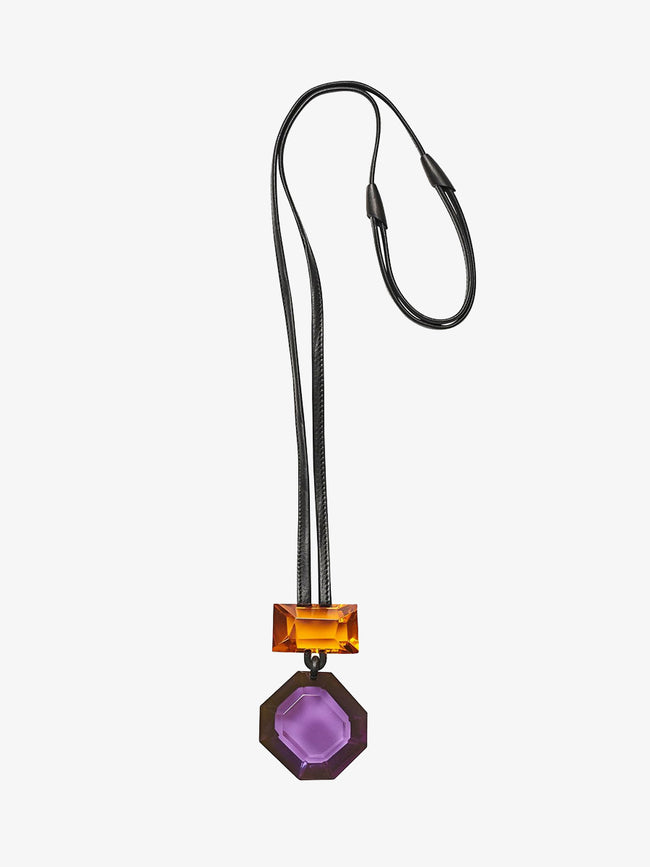 MADISON PENDANT NECKLACE - PURPLE/ORANGE POLYESTER