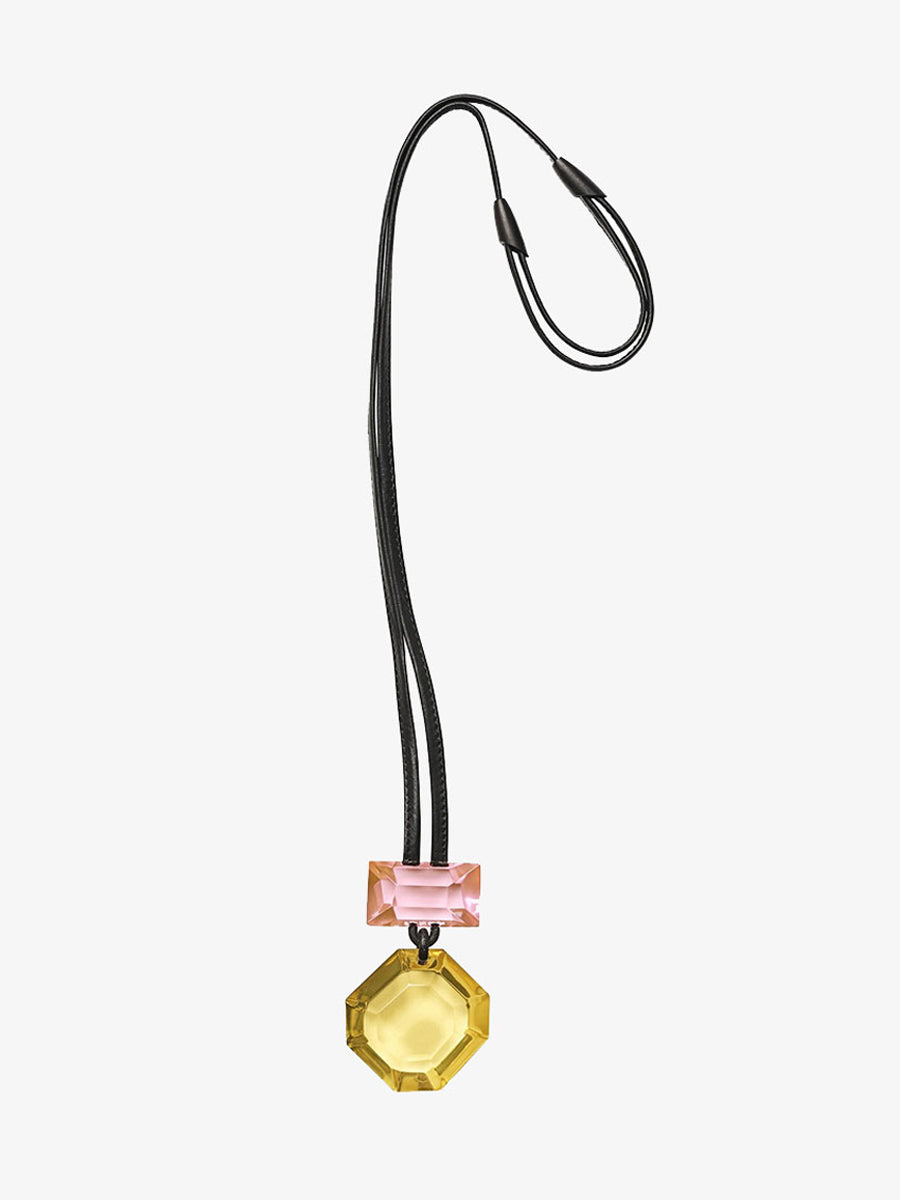 MADISON PENDANT NECKLACE - PINK/YELLOW POLYESTER