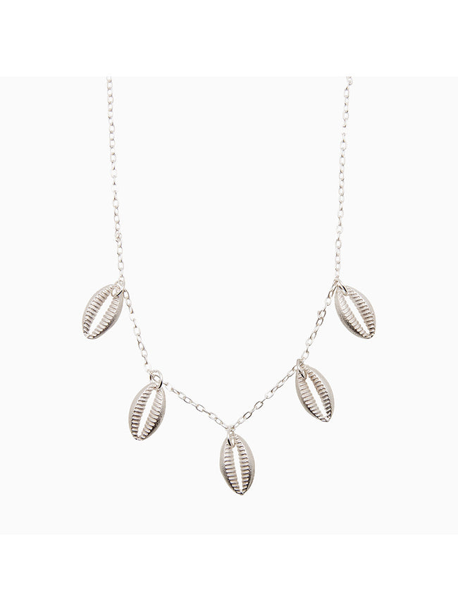 FINE CHAIN SHELL NECKLACE - SILVER