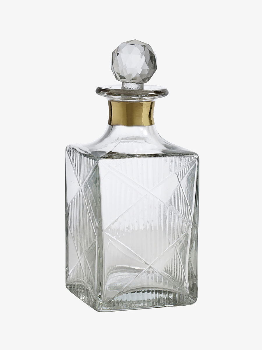 LARGE GLASS DECANTER - GOLD BAND