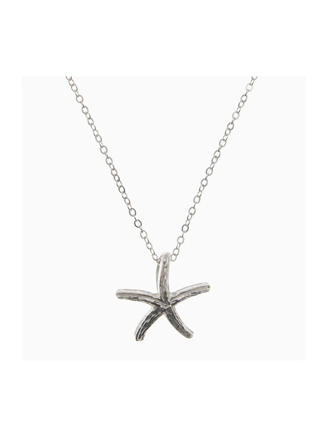 FINE CHAIN STARFISH NECKLACE - SILVER
