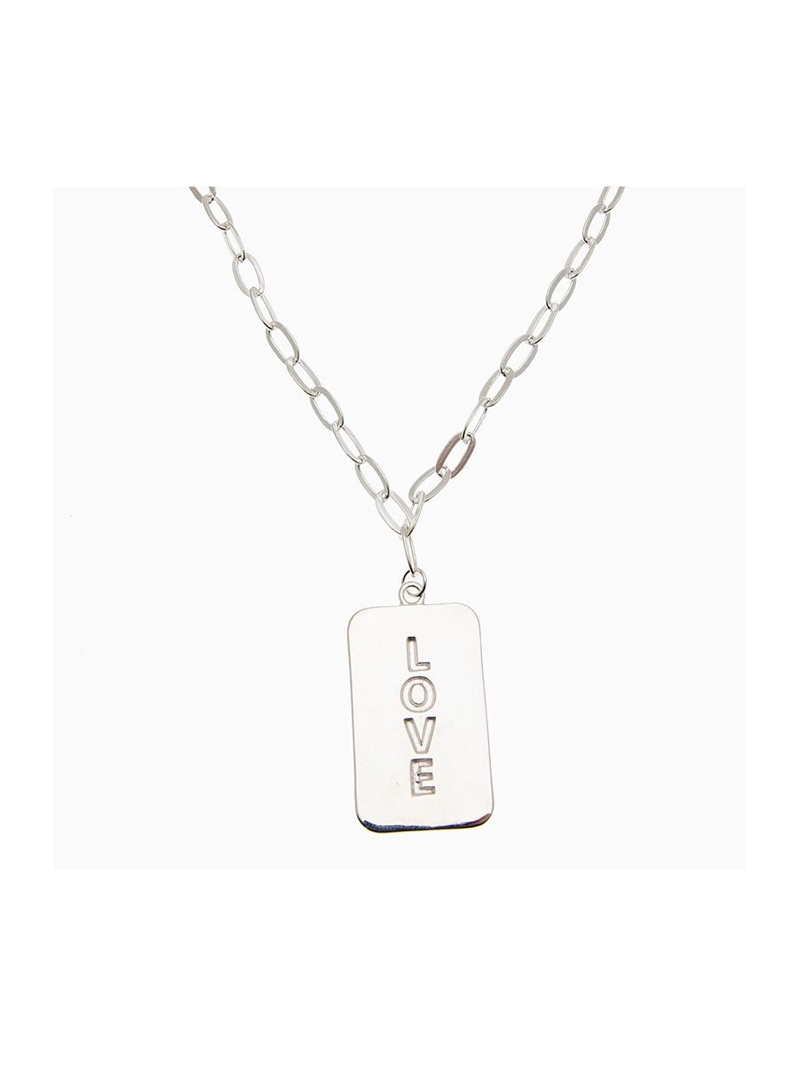LOVE PENDANT NECKLACE - SILVER