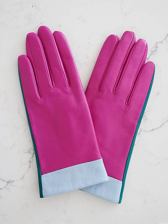 LEATHER GLOVES - PINK COLOURBLOCK
