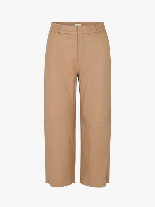 GLOBA LEATHER TROUSERS - CARAMEL NUT