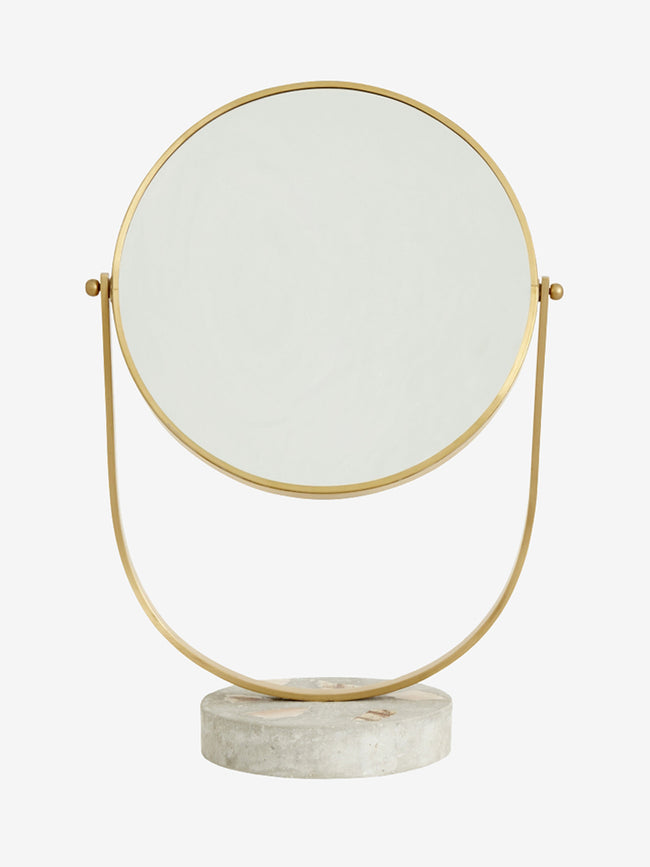 MAKE-UP TABLE MIRROR - GOLDEN/TERRAZZO