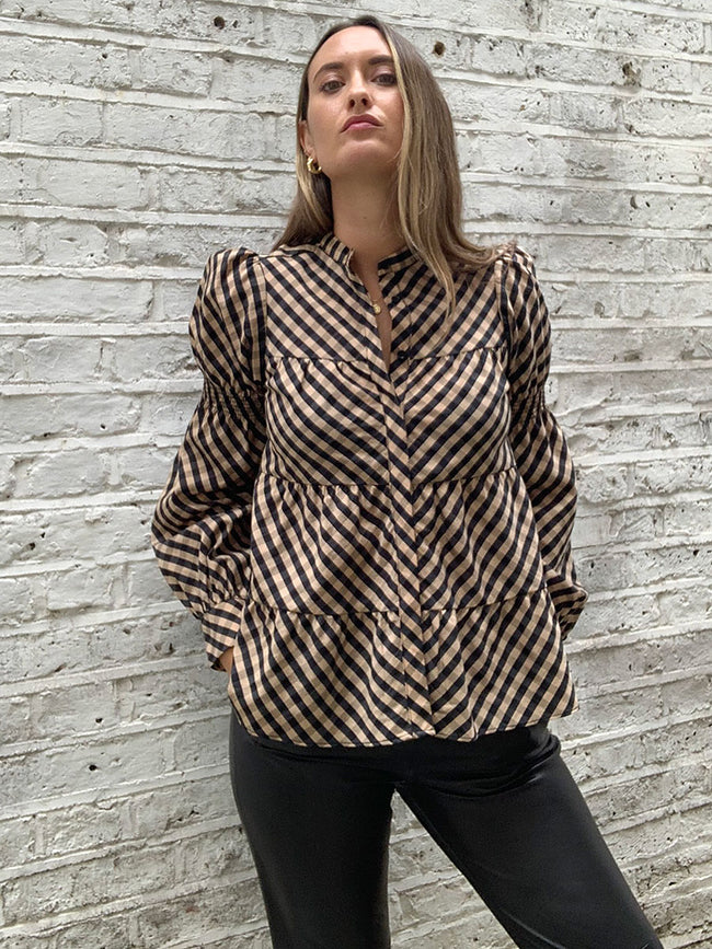 KAMMA CHECK BLOUSE - BLACK MULTI