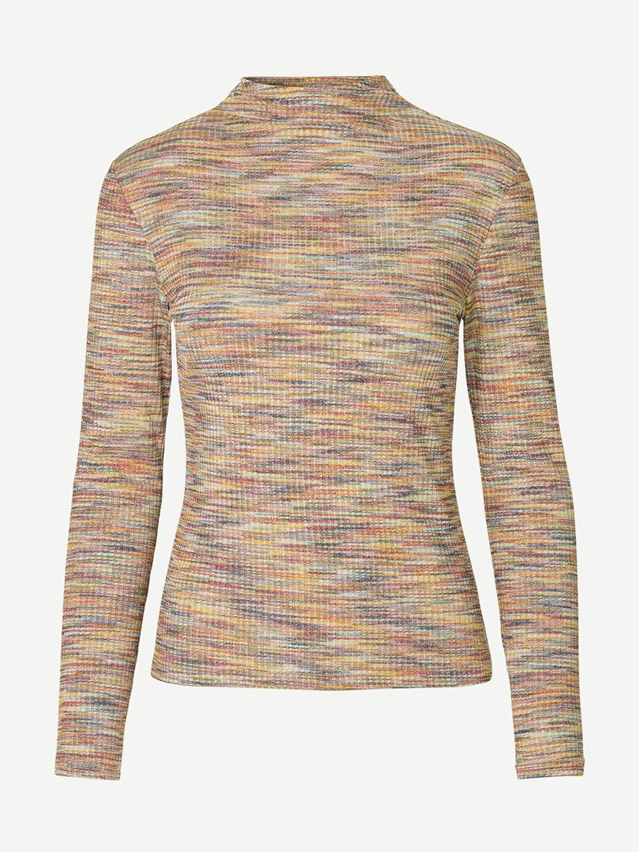 LYDIA MULTI SPACE DYE POLO NECK TEE