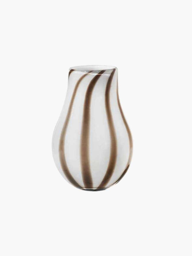 ADA STRIPE MOUTHBLOWN VASE 15.5X22.5 - SIMPLY TAUPE WARM GREY