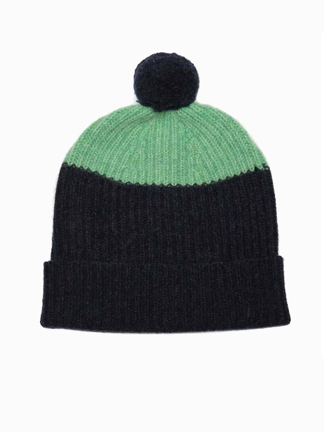 MERINO WOOL POM HAT - NAVY & MINT