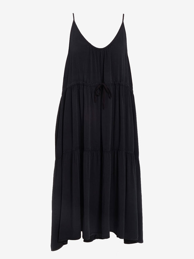 HEATHER RUFFLE HEM DRESS - BLACK