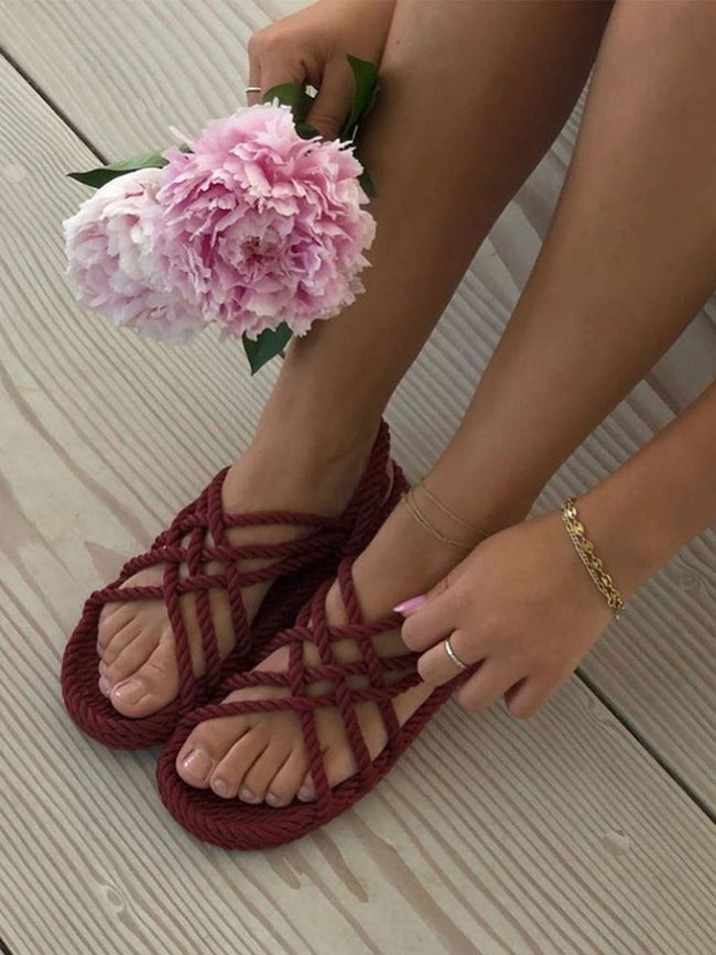 JC ROPE SANDALS - BORDEAUX