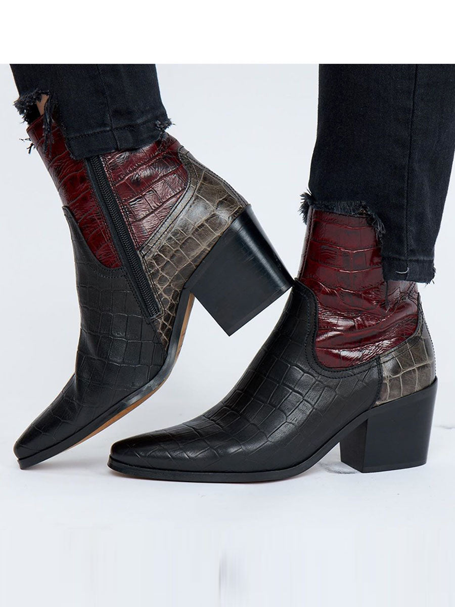 GEORGIA CROC LEATHER BOOTS - BORDEAUX