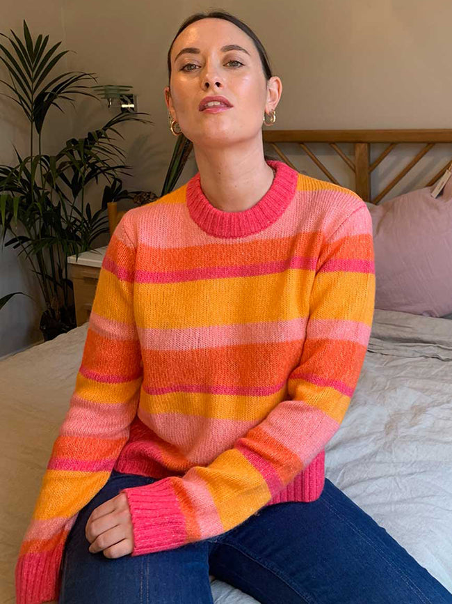 COLANA JUMPER - ORANGE MULTI STRIPE