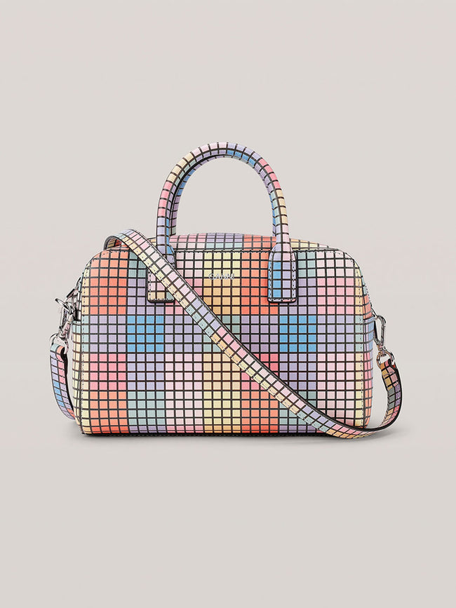 LEATHER CHECK TOP HANDLE BAG - MULTICOLOUR