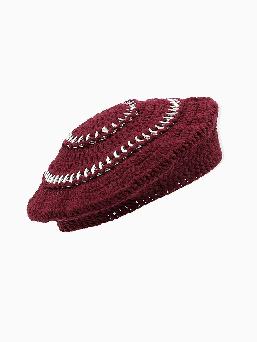 COTTON KNIT BERET - PORT ROYALE