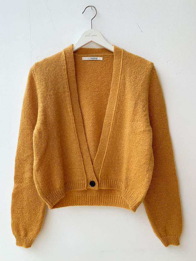 CELINE CROP CARDIGAN - CURRY