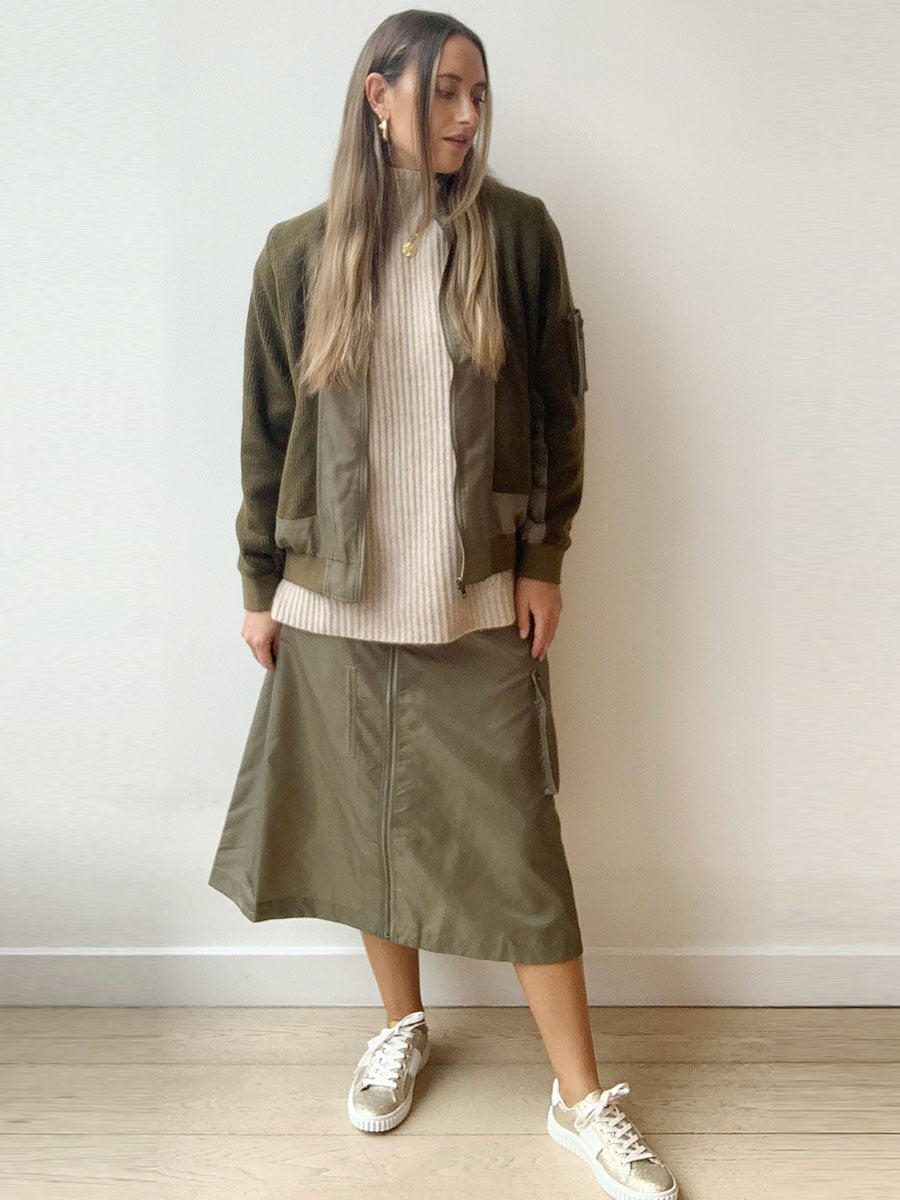 ALICIA BOMBER JACKET - DUFFLE GREEN