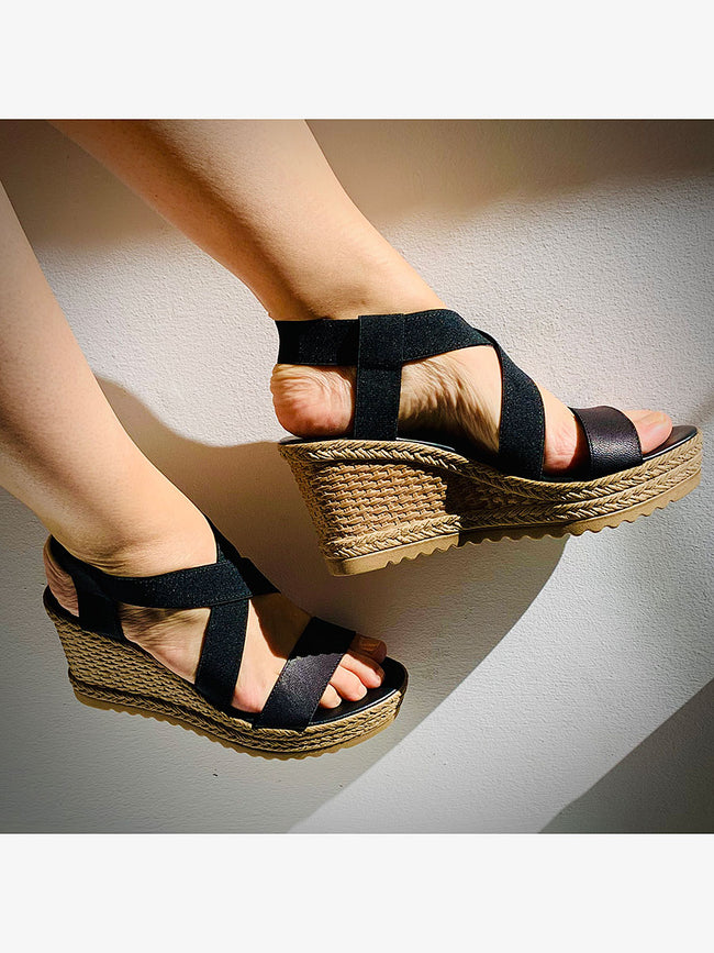 ELASTIC ESPADRILLE WEDGES - BLACK