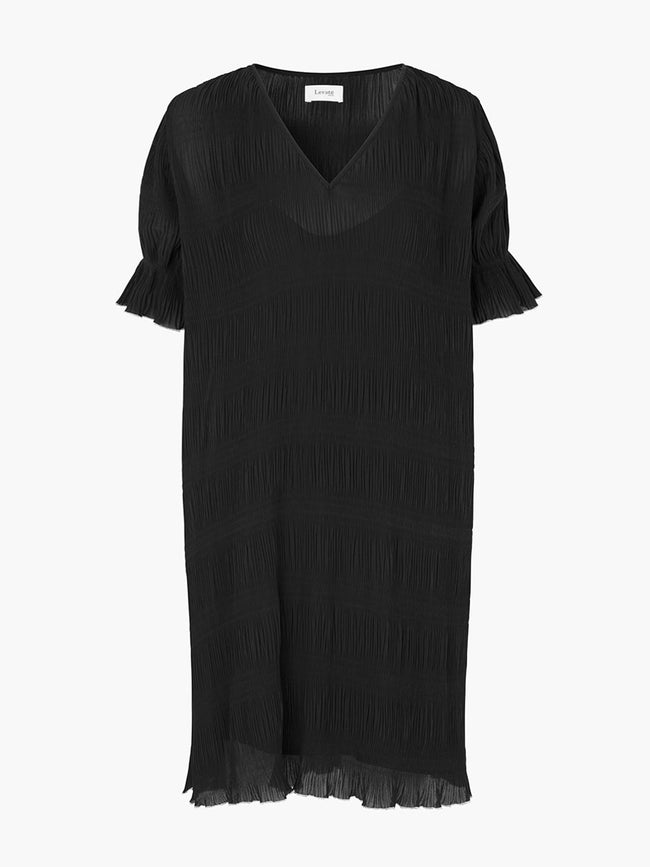 JALINA RUFFLE TRIM DRESS - BLACK