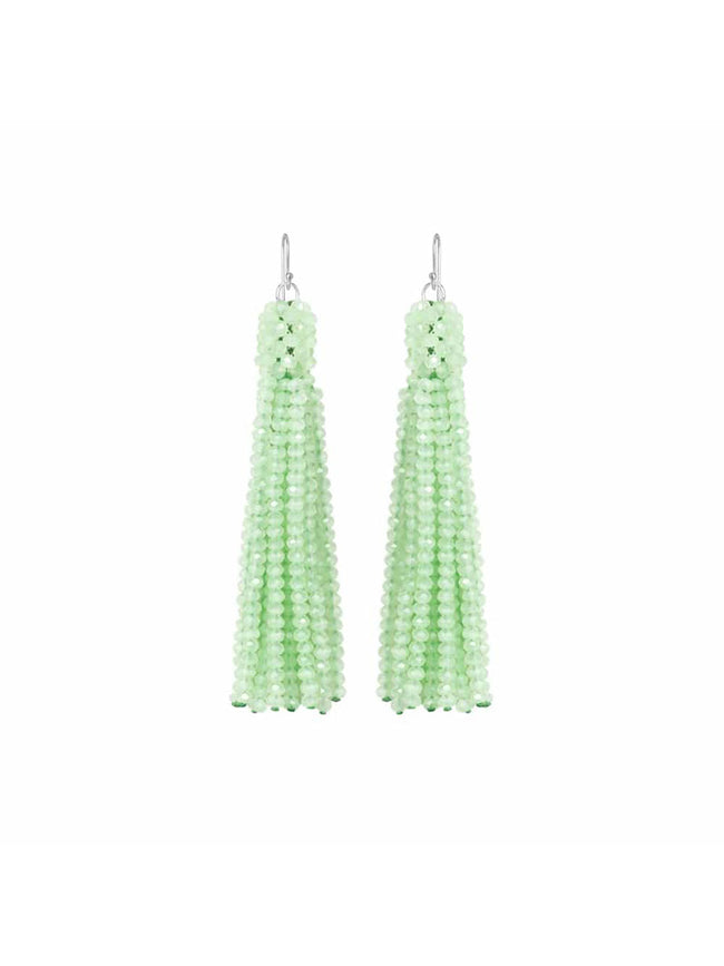 ALEXIS CRYSTAL TASSEL EARRINGS - MINT