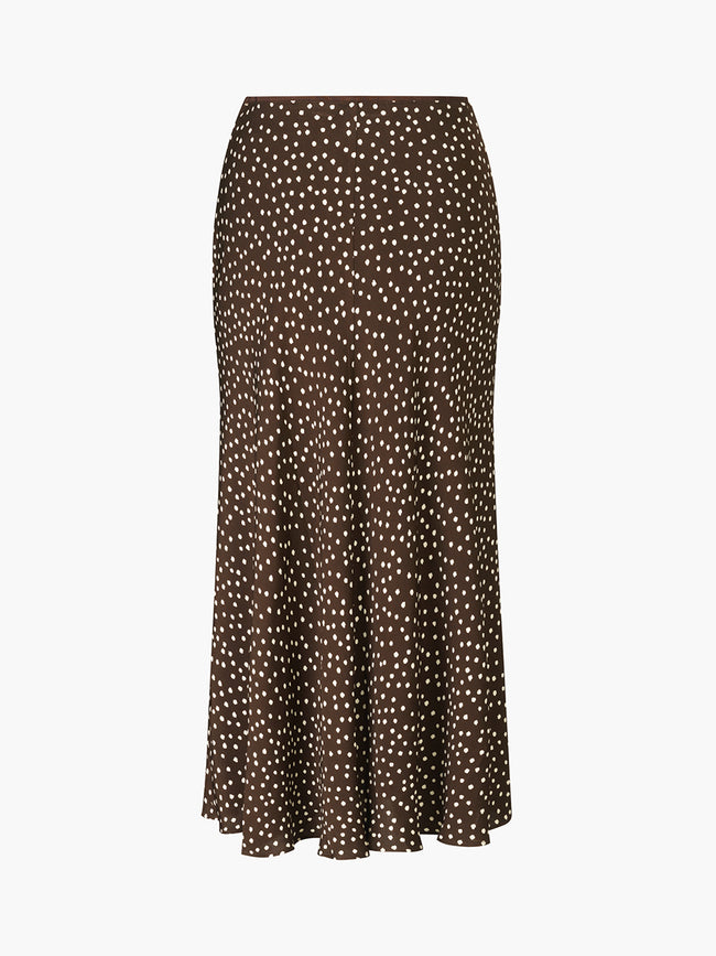 ALSOP SKIRT AOP - COFFEE DROPS